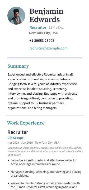Resume displayed on mobile