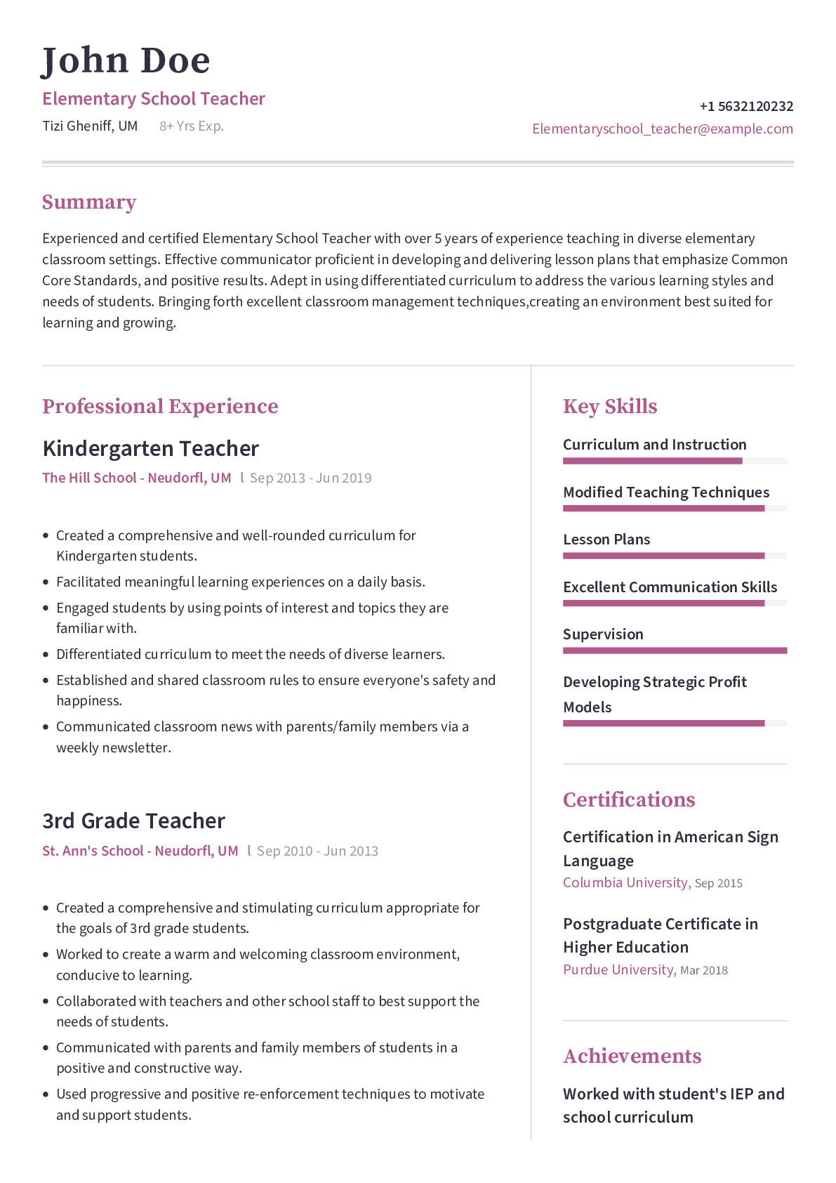 Elementary School Teacher Resume Example