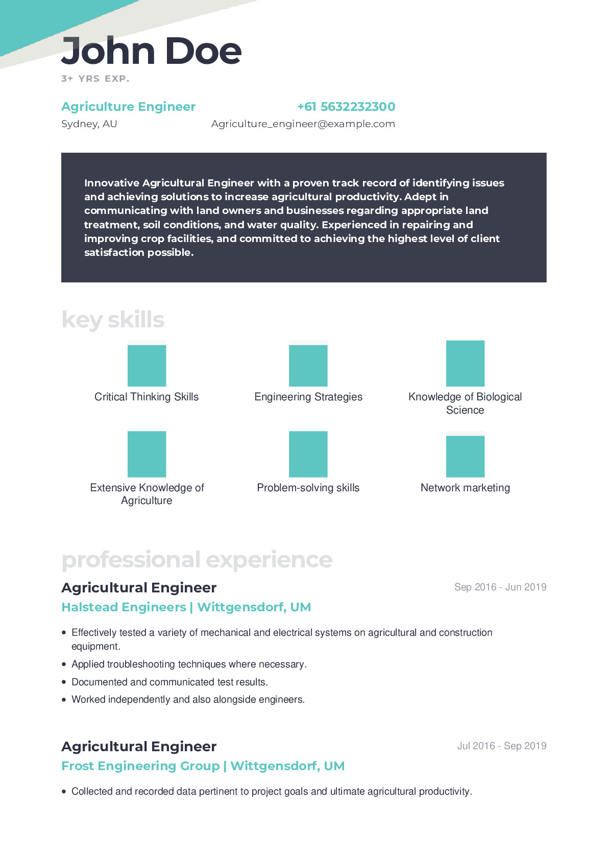 Agriculture Engineer Resume Example