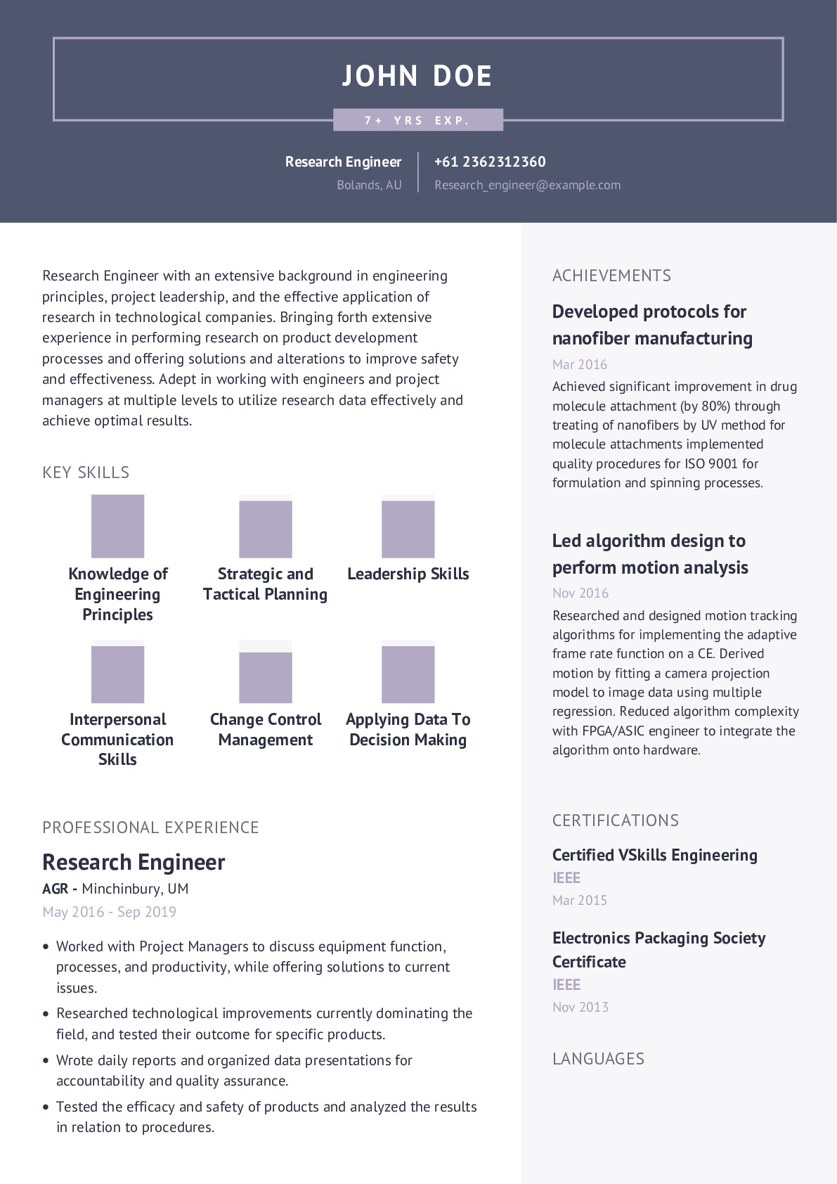 Research Engineer Resume Example
