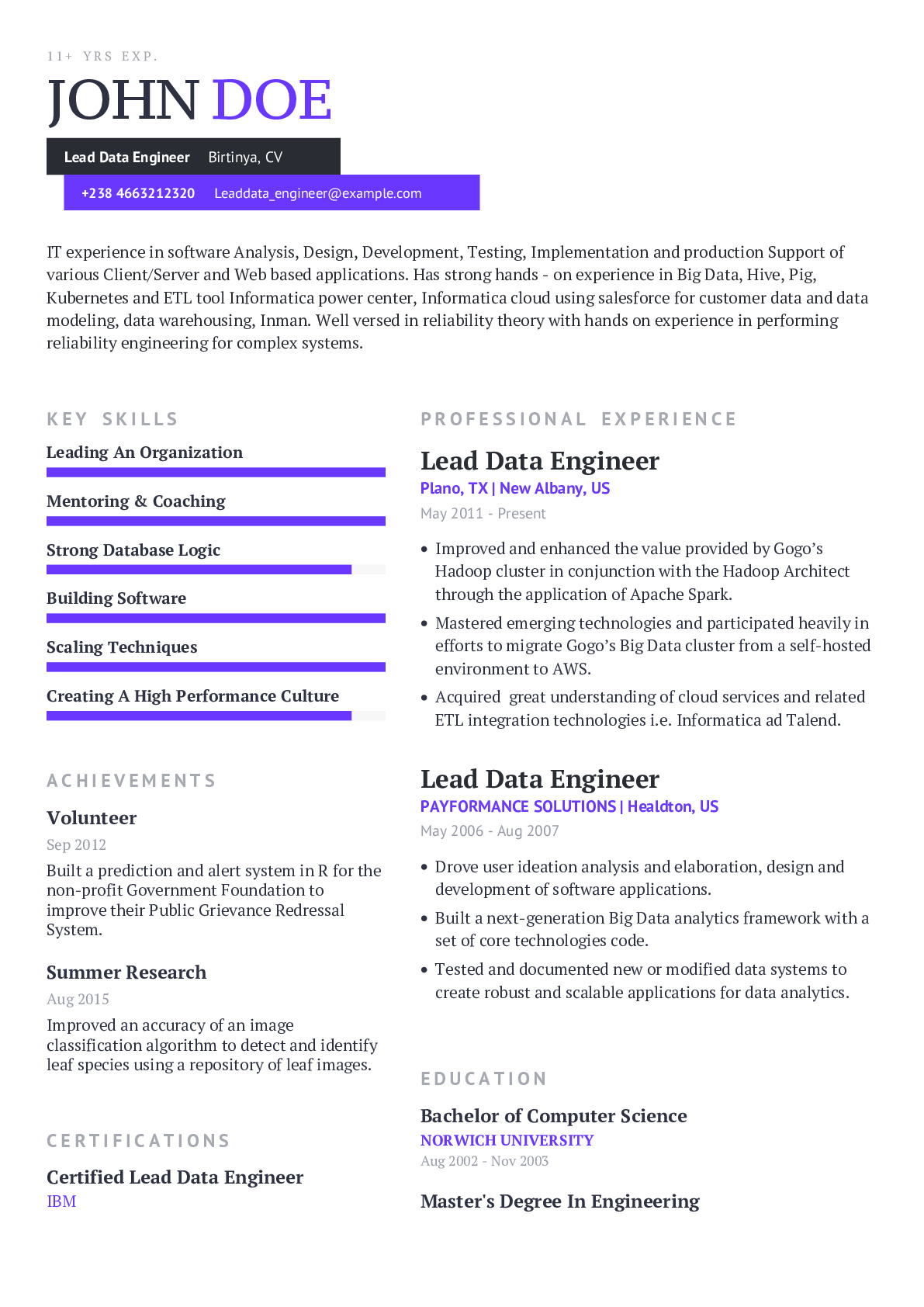 Lead Data Engineer Resume Example With Content Sample Craftmycv