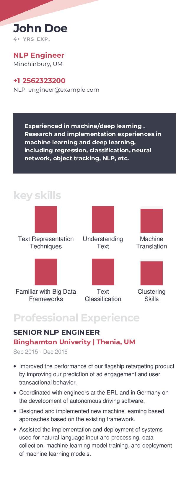 NLP Engineer Mobile Resume Example