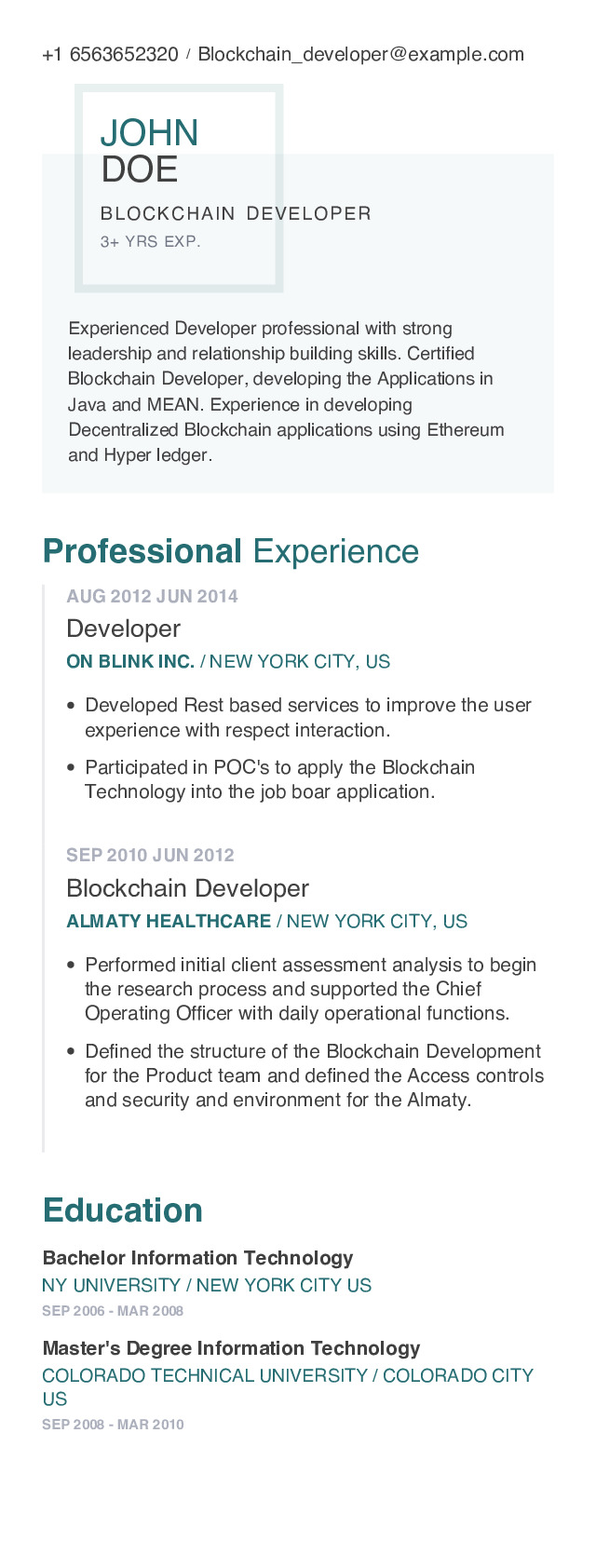 Blockchain Developer Mobile Resume Example