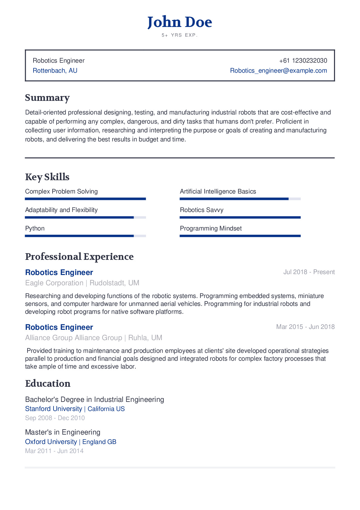 Robotics Engineer Resume Example