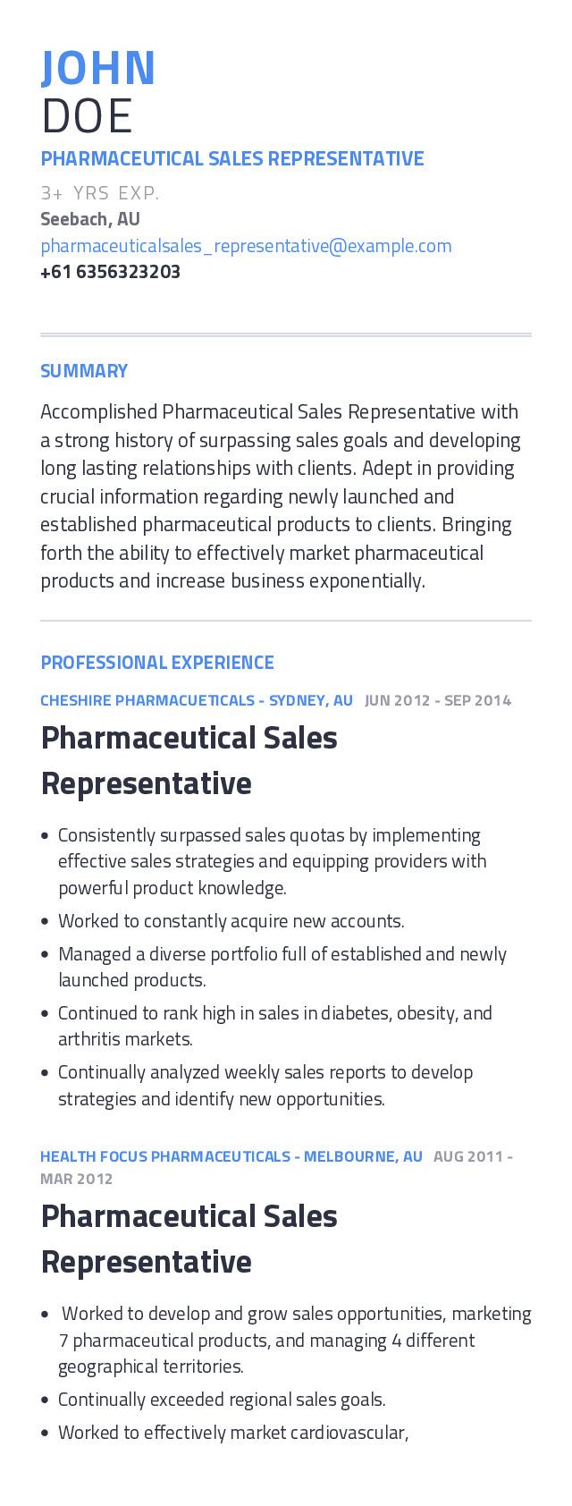 Pharmaceutical Sales Representative Mobile Resume Example