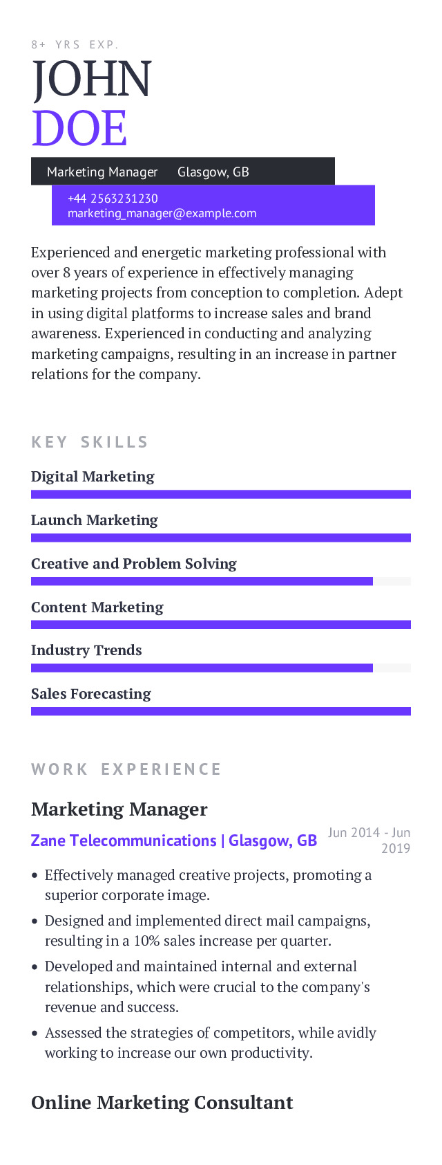 Marketing Manager Mobile Resume Example