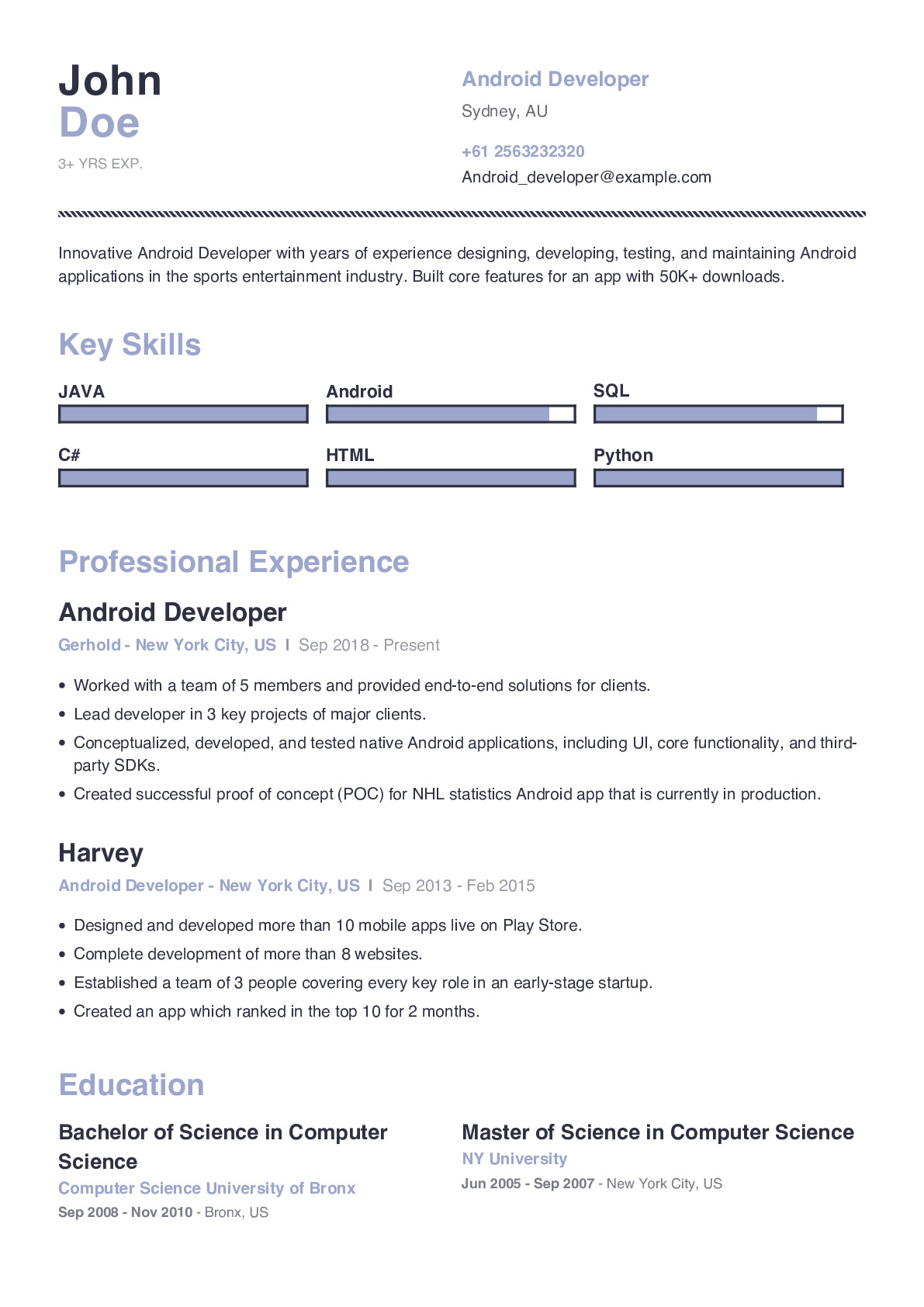 Android Developer Resume Example