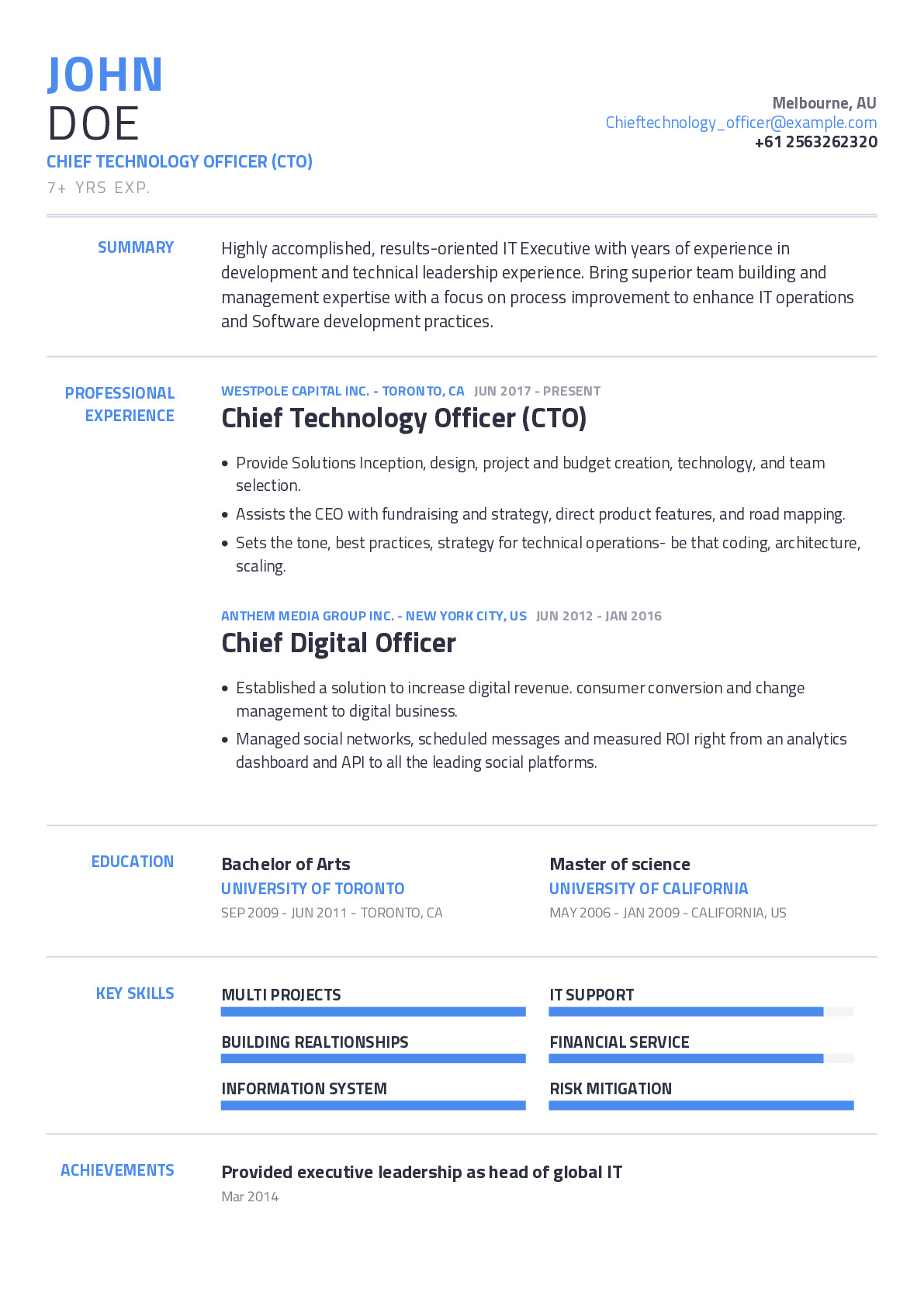 Chief Technology Officer (CTO) Resume Example