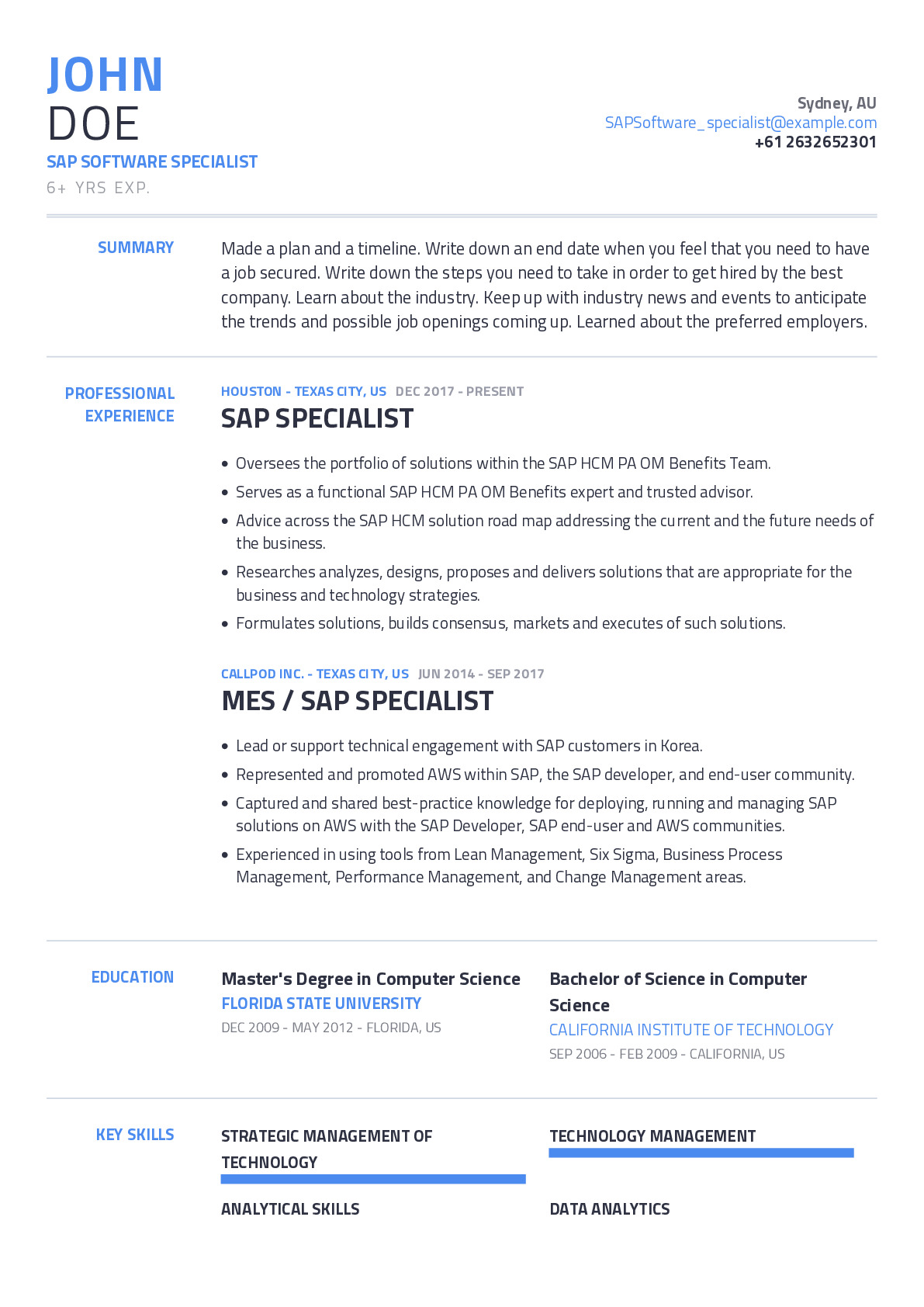 SAP Software Specialist Resume Example