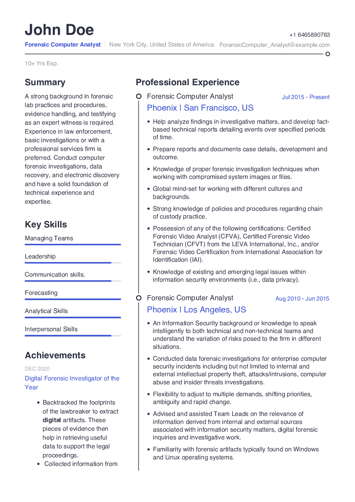 Forensic Computer Analyst Resume Example