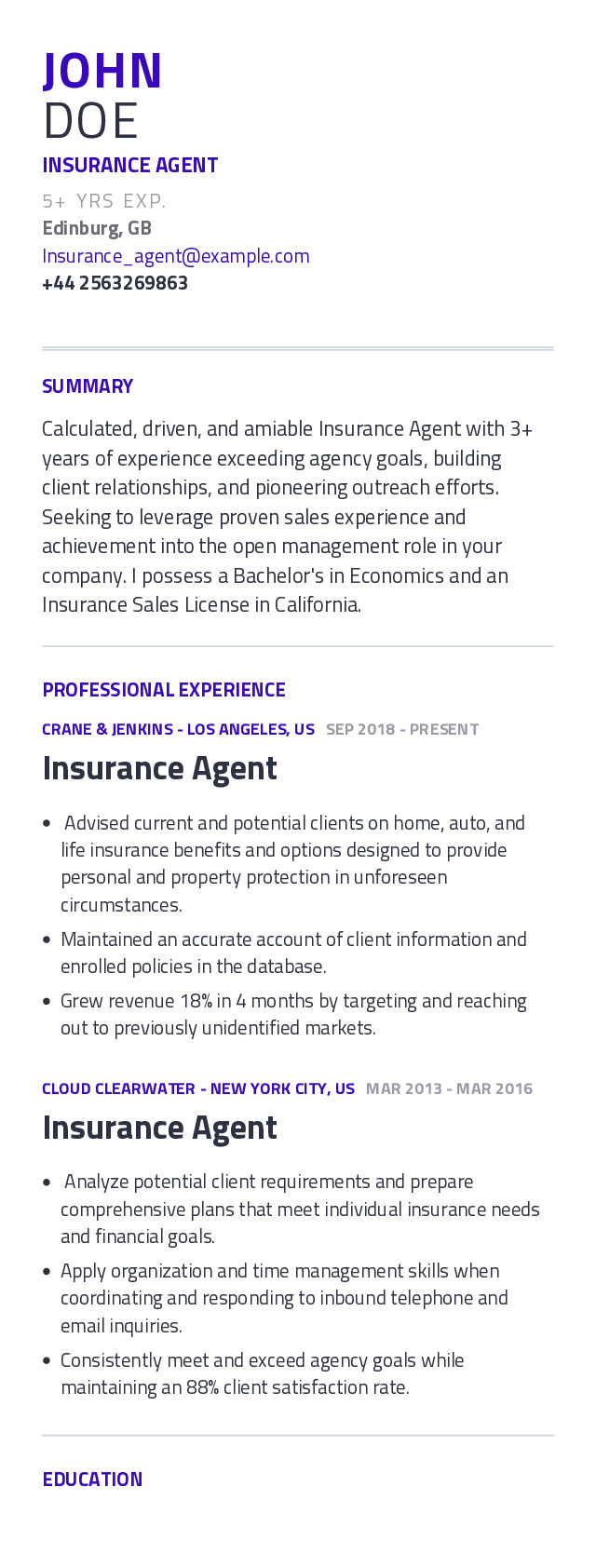 Insurance Agent Mobile Resume Example
