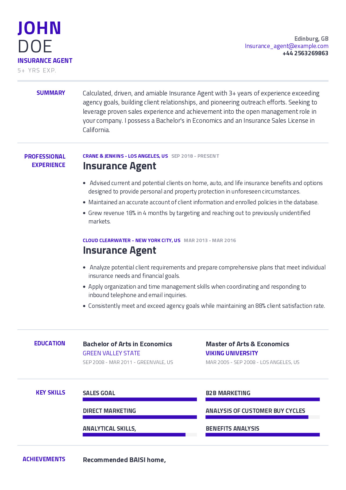 Insurance Agent Resume Example With Content Sample | CraftmyCV