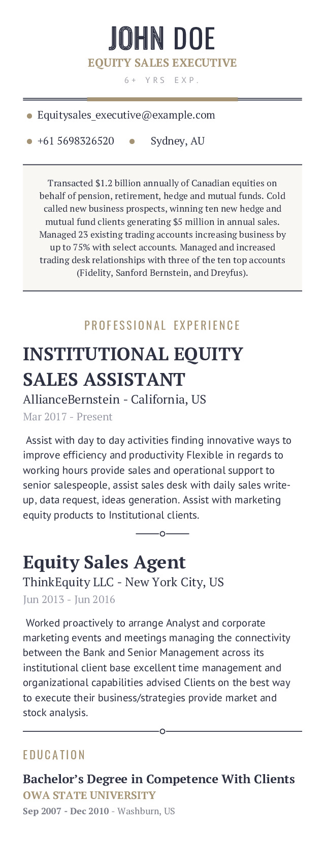 Equity Sales Executive Mobile Resume Example