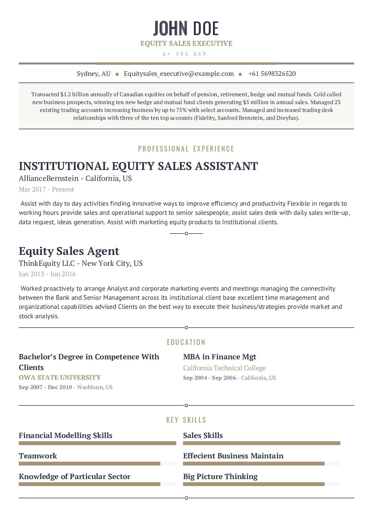 Equity Sales Executive Resume Example