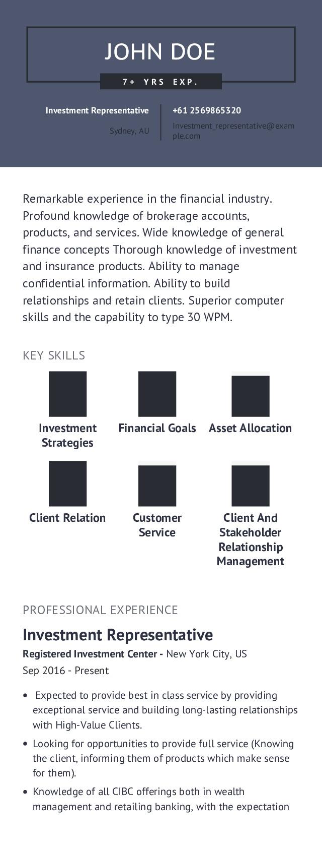 Investment Representative Mobile Resume Example