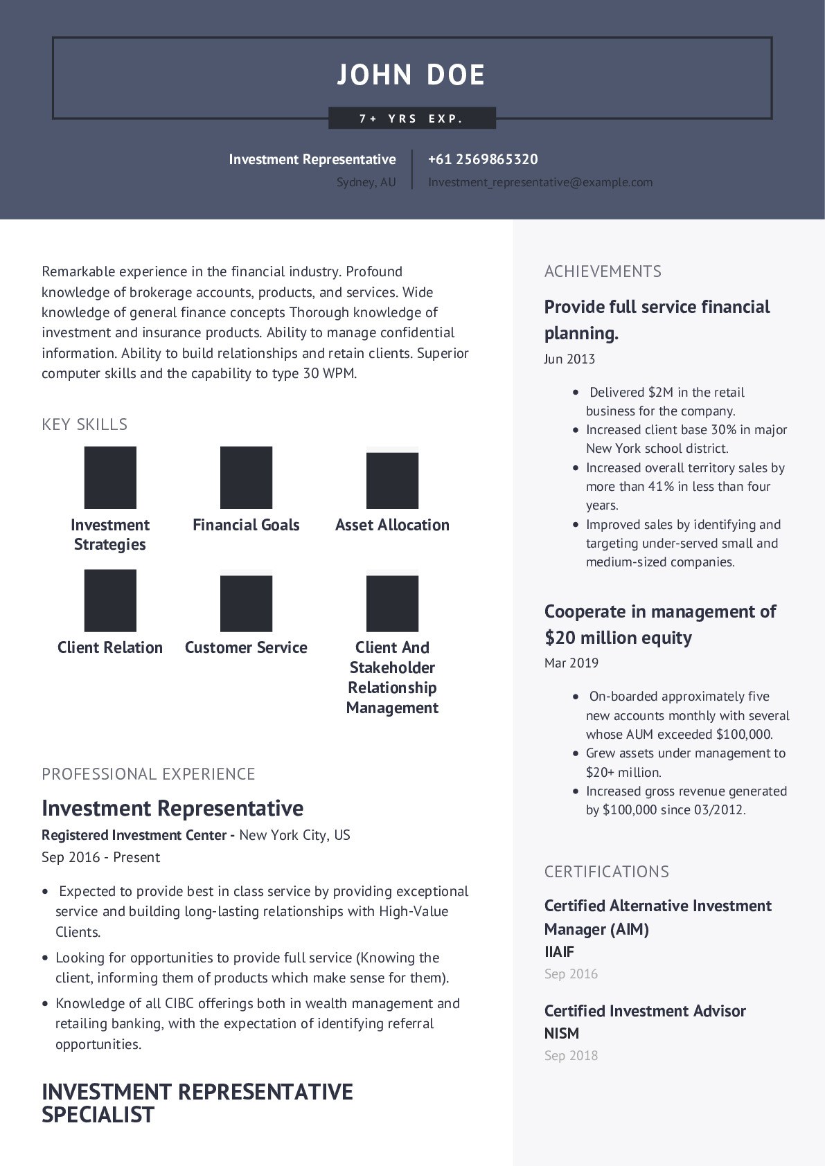 Investment Representative Resume Example