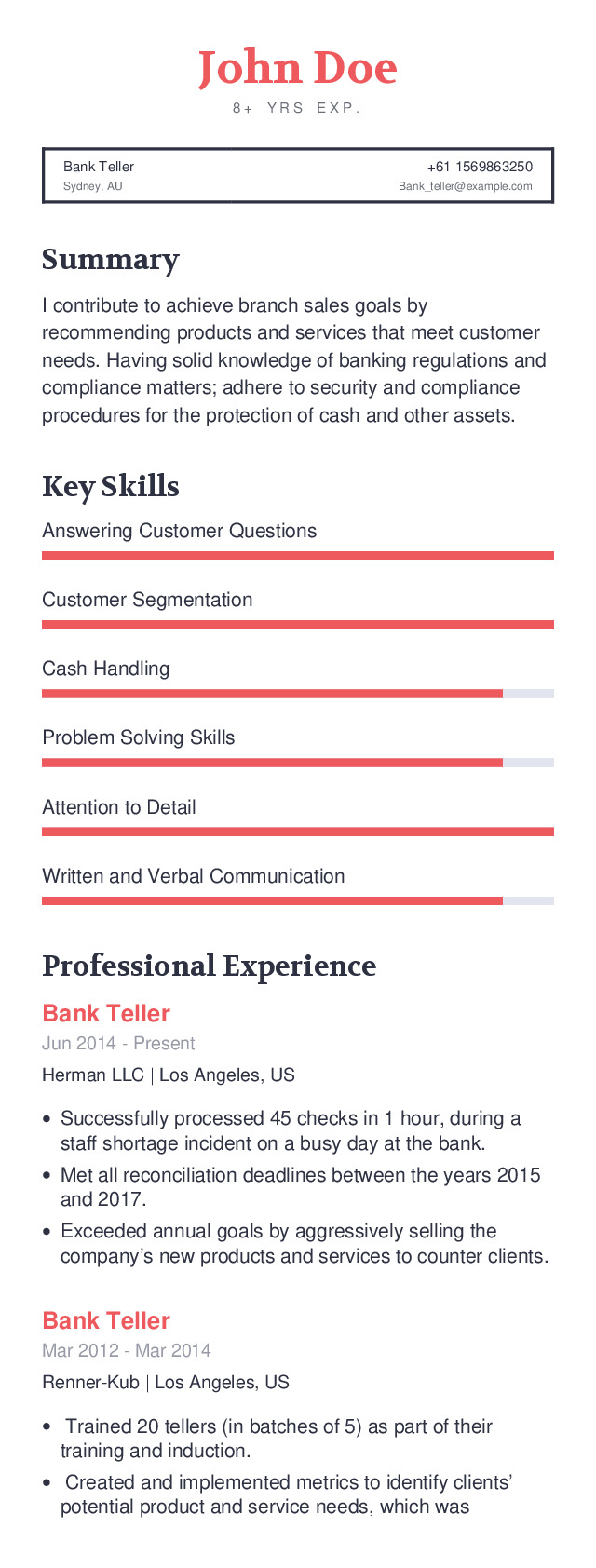 Bank Teller Mobile Resume Example