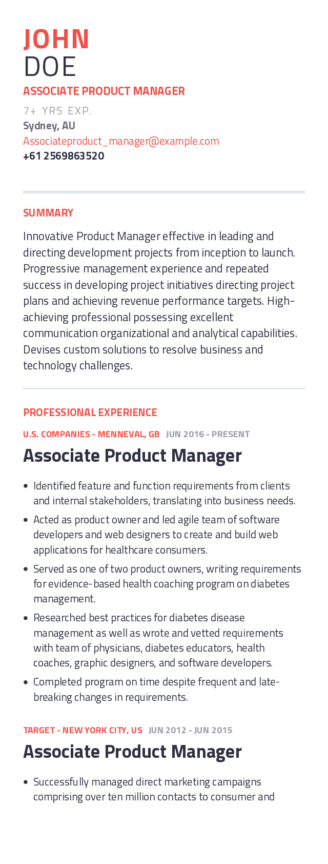Associate Product Manager Mobile Resume Example