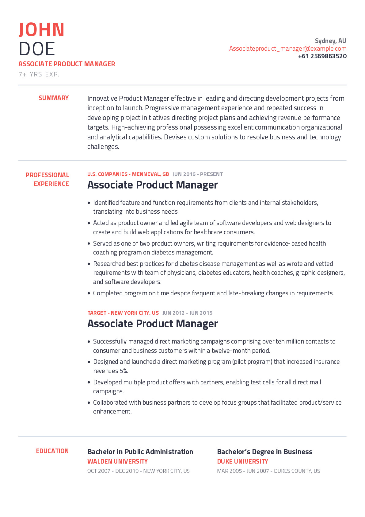 associate product manager resume example with content