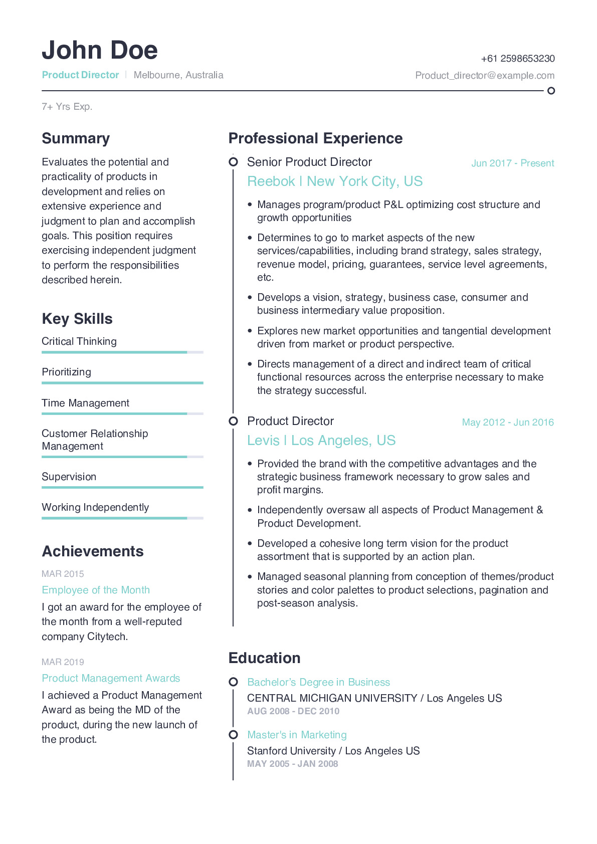 Product Director Resume Example