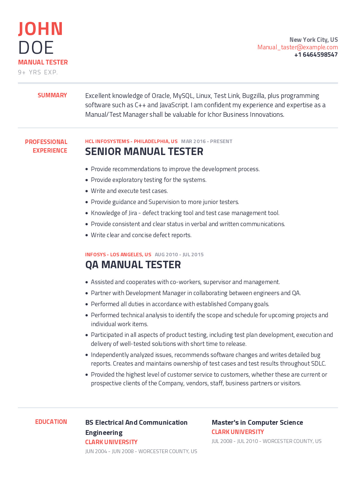 Manual Tester Resume Example