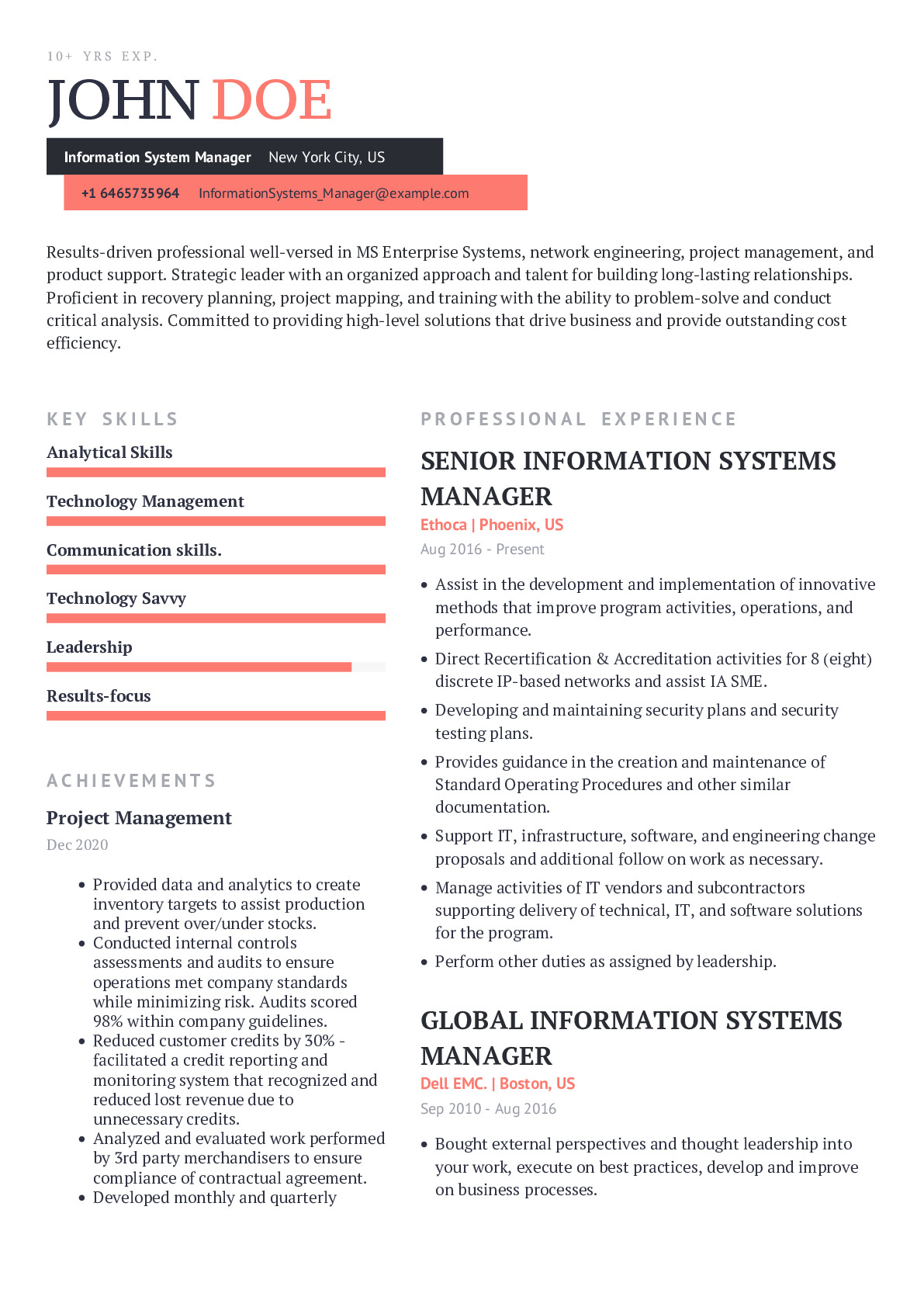 Information System Manager Resume Example
