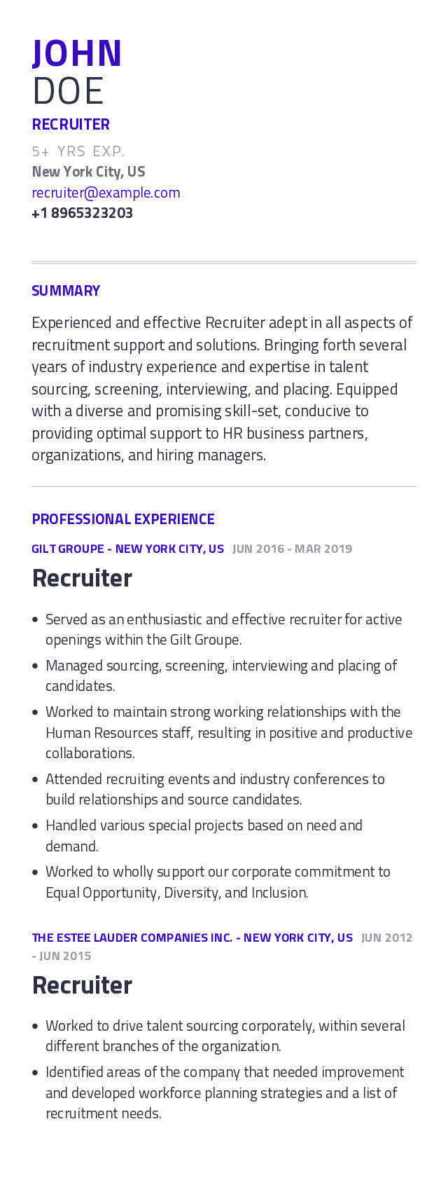 Recruiter Mobile Resume Example