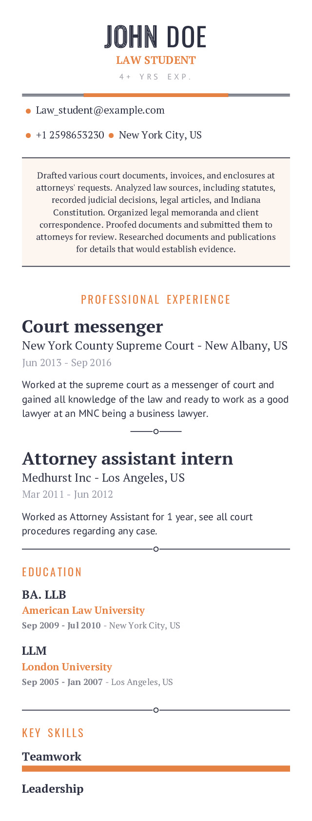 LAW STUDENT Mobile Resume Example
