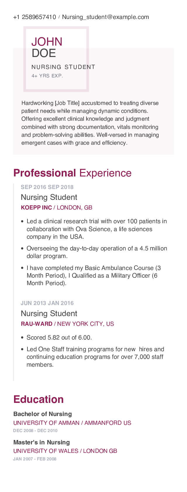Nursing student Mobile Resume Example