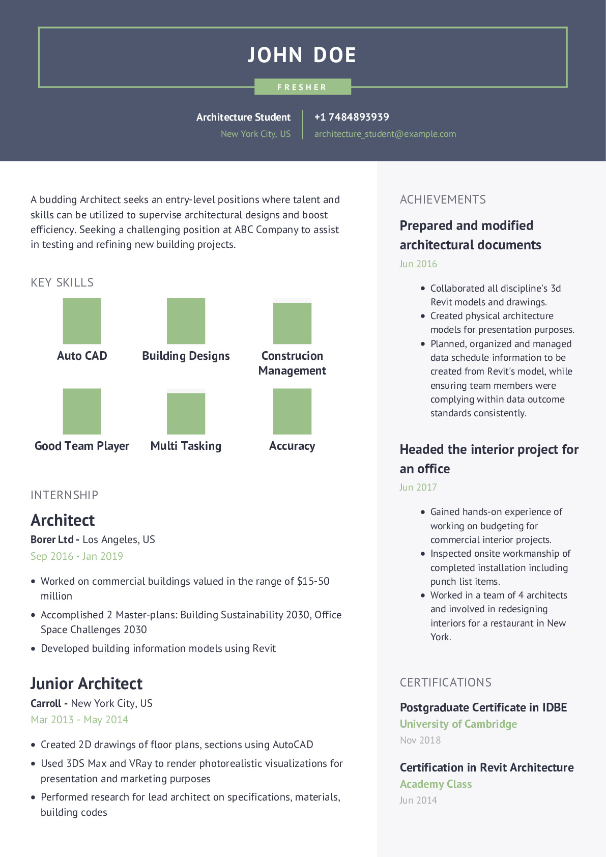 Architecture Student Resume Example