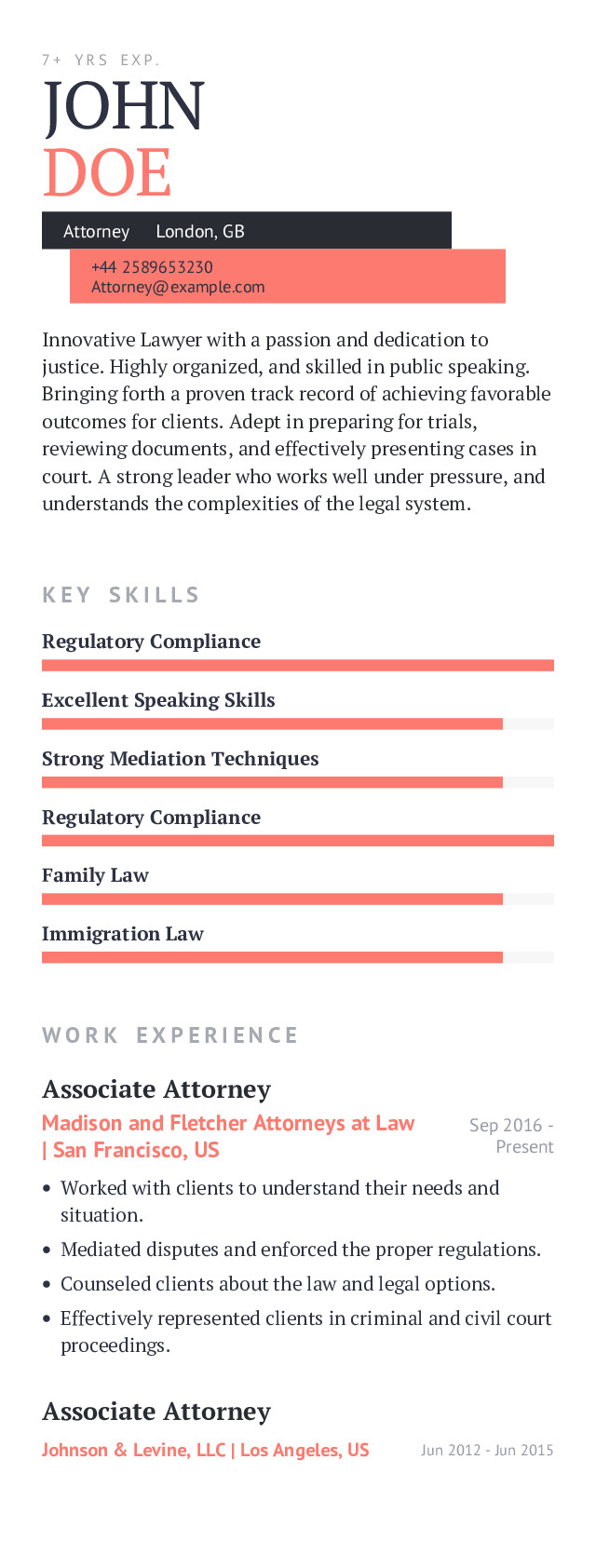 Attorney Mobile Resume Example