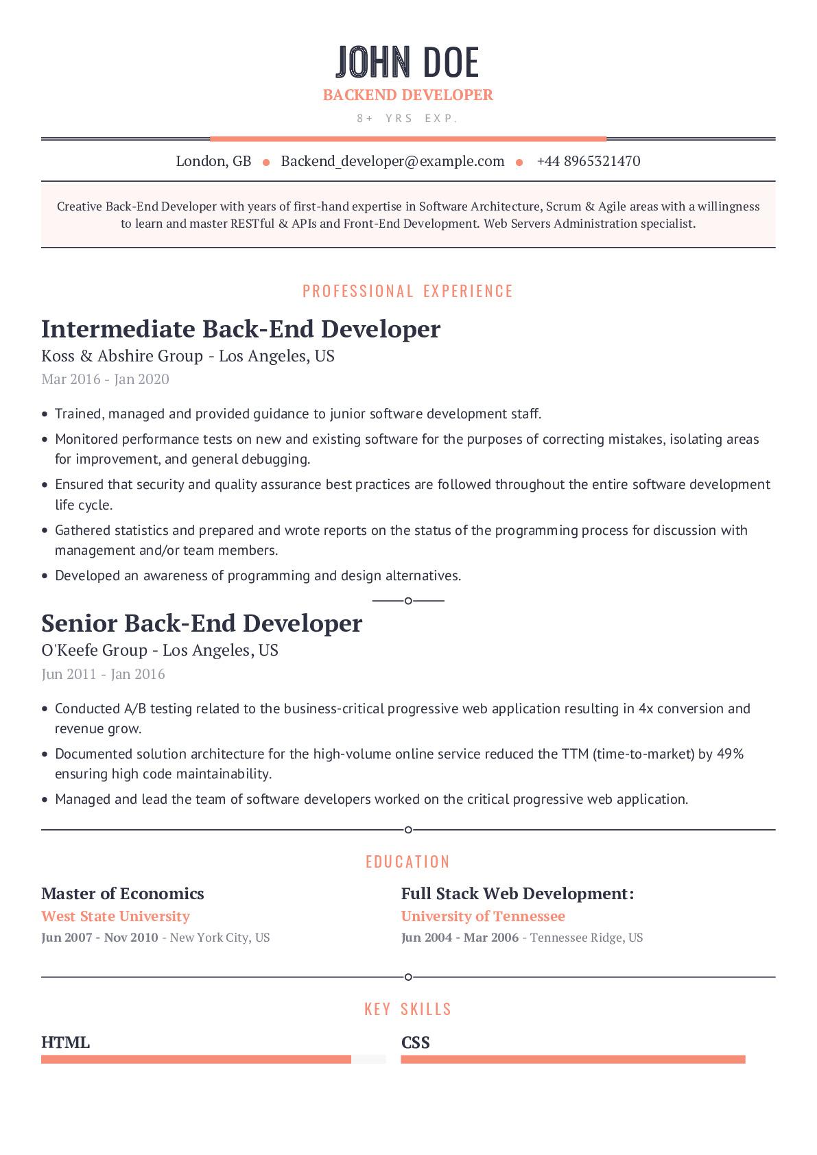 Backend Developer Resume Example