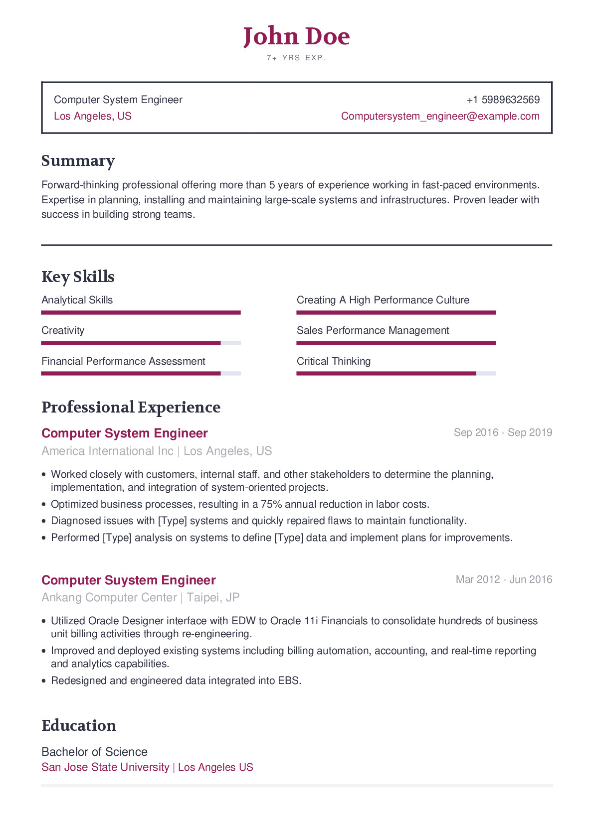 Computer System Engineer Resume Example