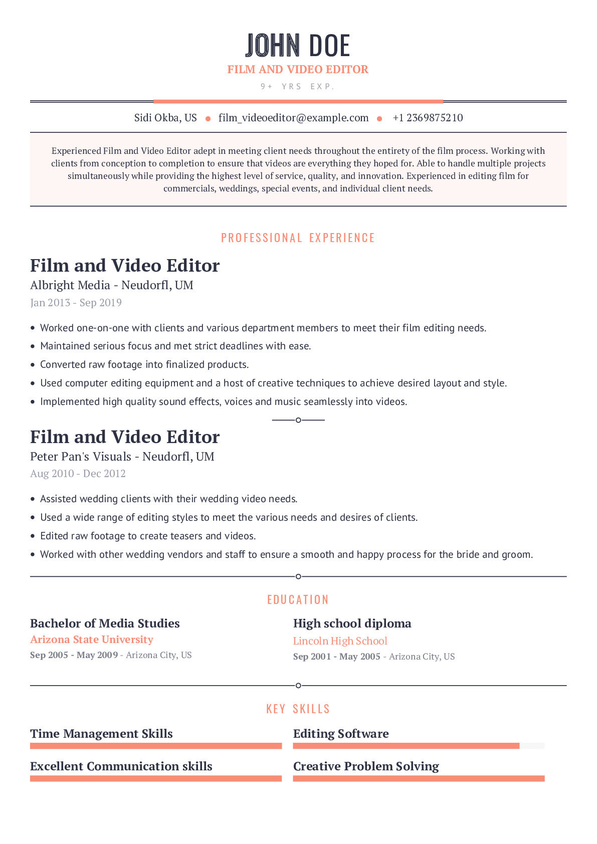 Film and Video Editor Resume Example