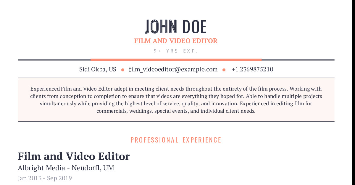 film and video editor resume example with content sample