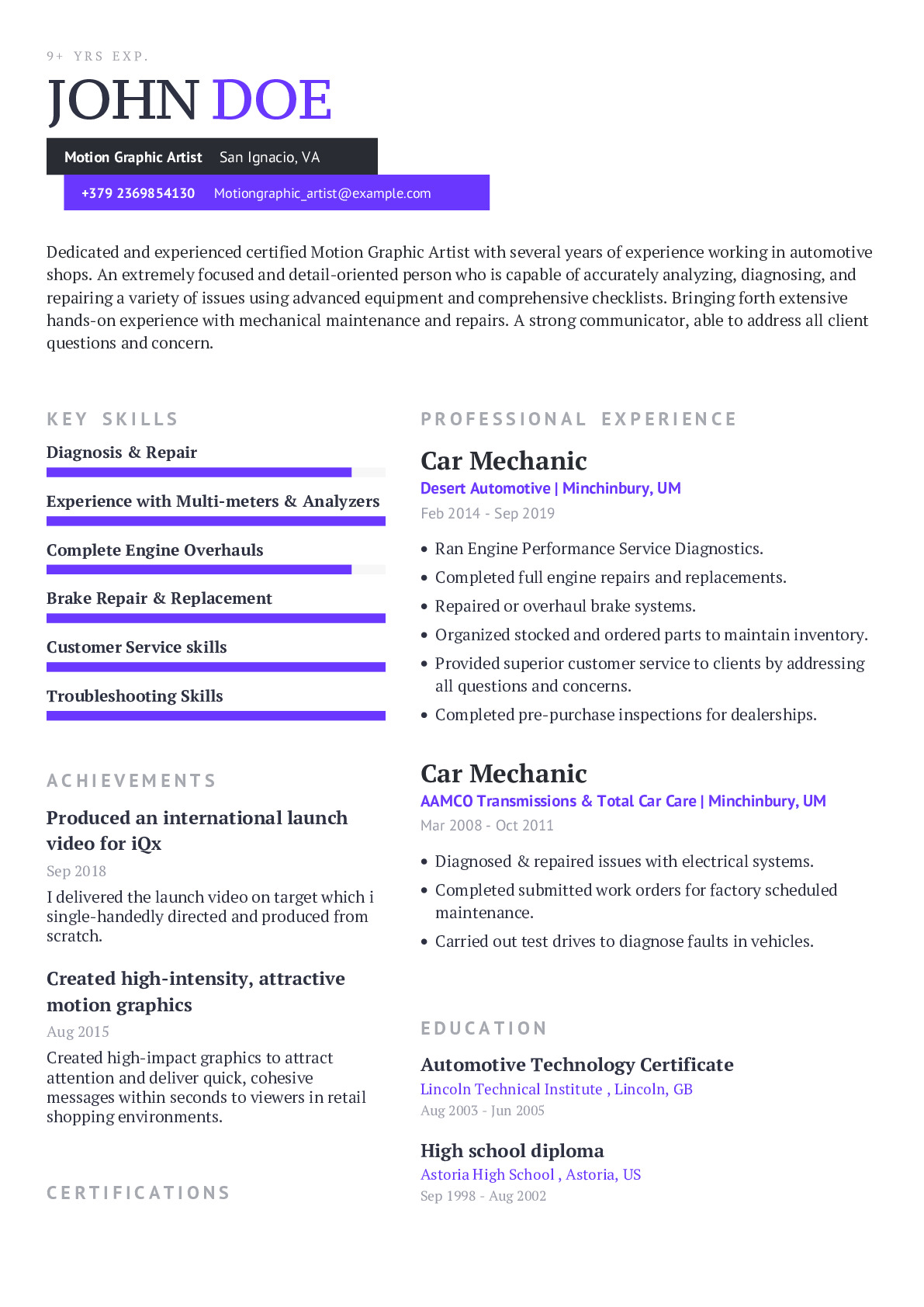 Motion Graphic Artist Resume Example