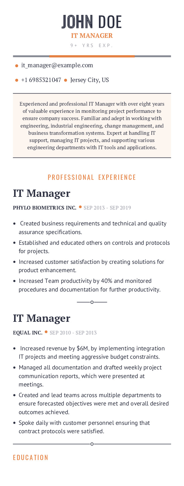 IT Manager Mobile Resume Example
