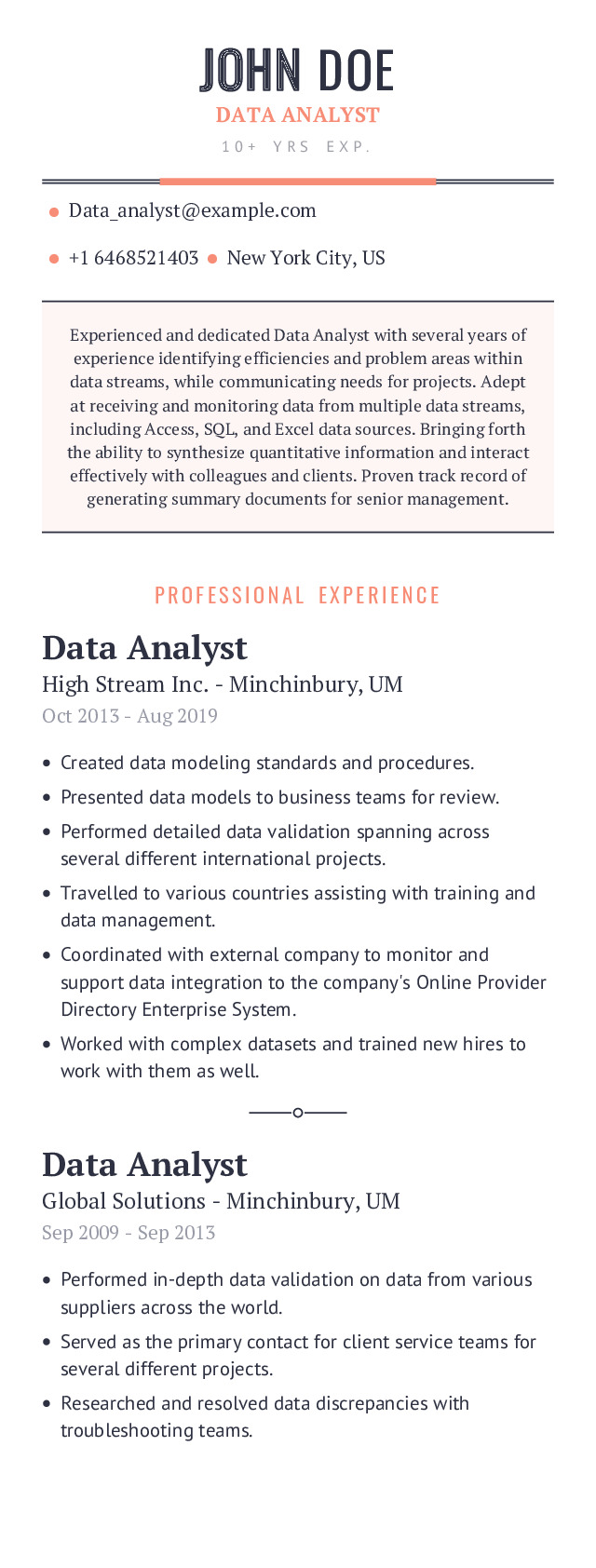 Data Analyst Mobile Resume Example