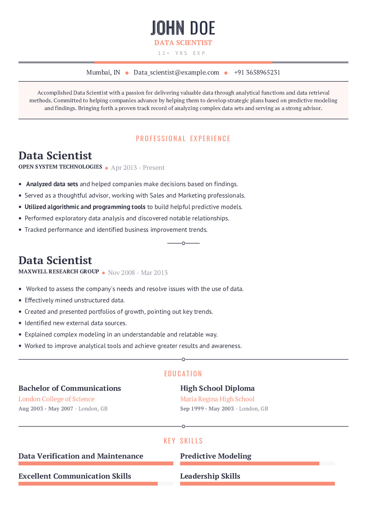 data scientist resume example with prefilled content