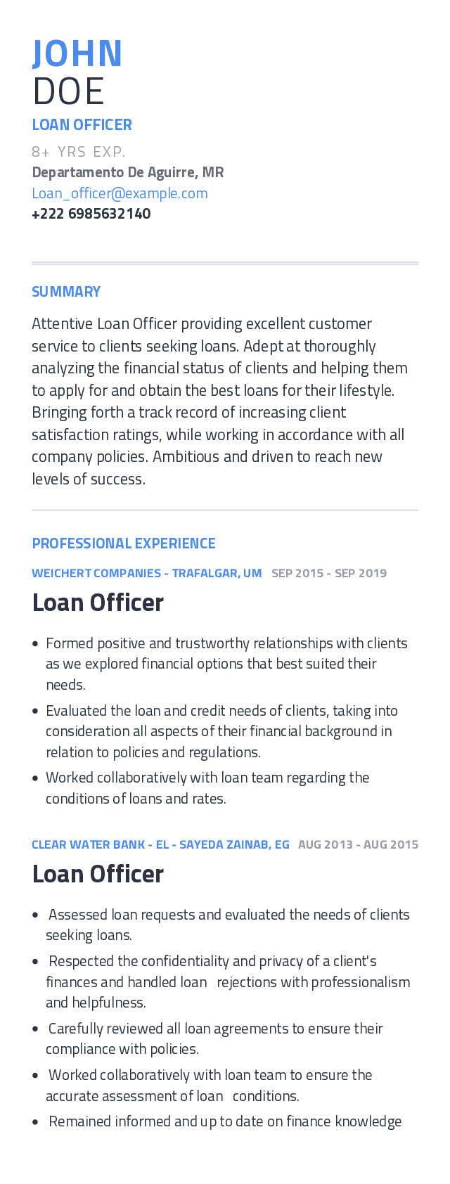 Loan Officer Mobile Resume Example