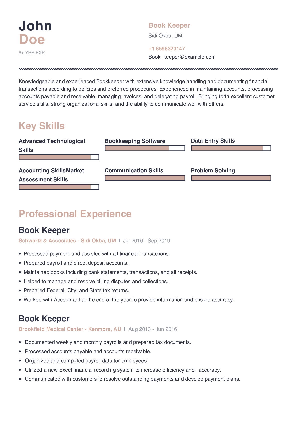 Book Keeper Resume Example