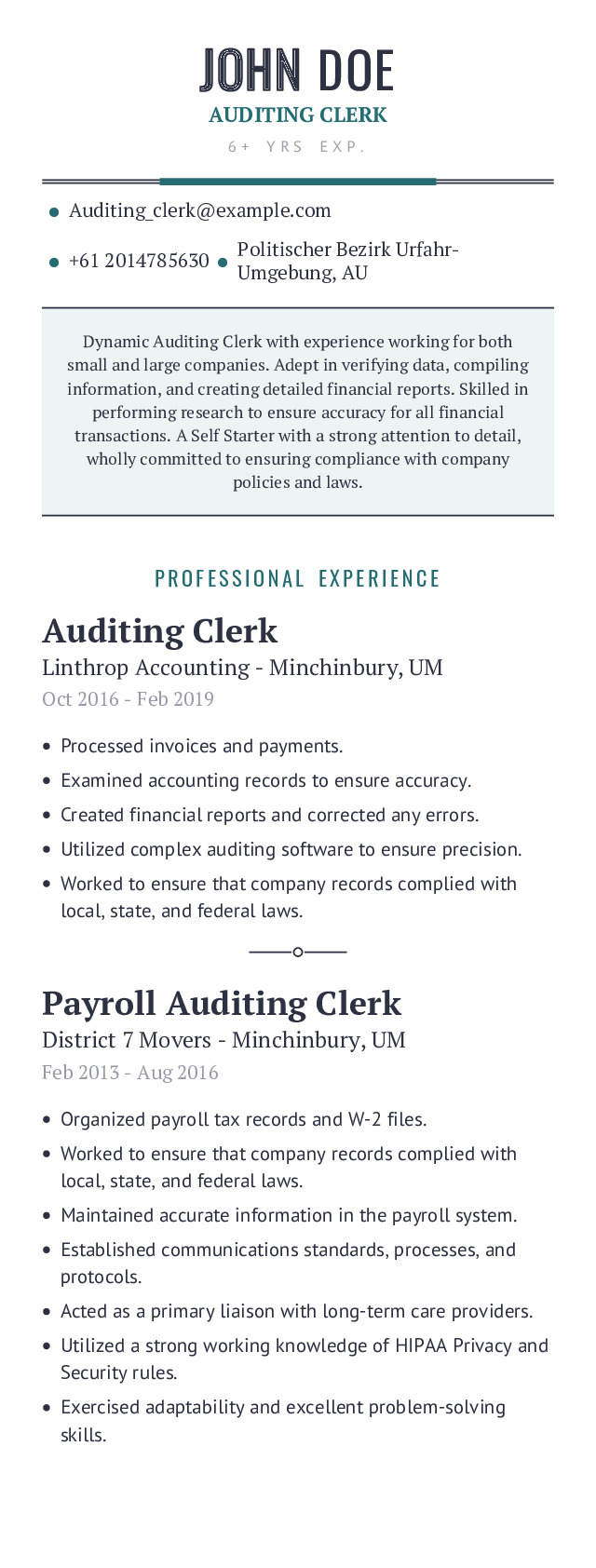 Mobile Resume Example