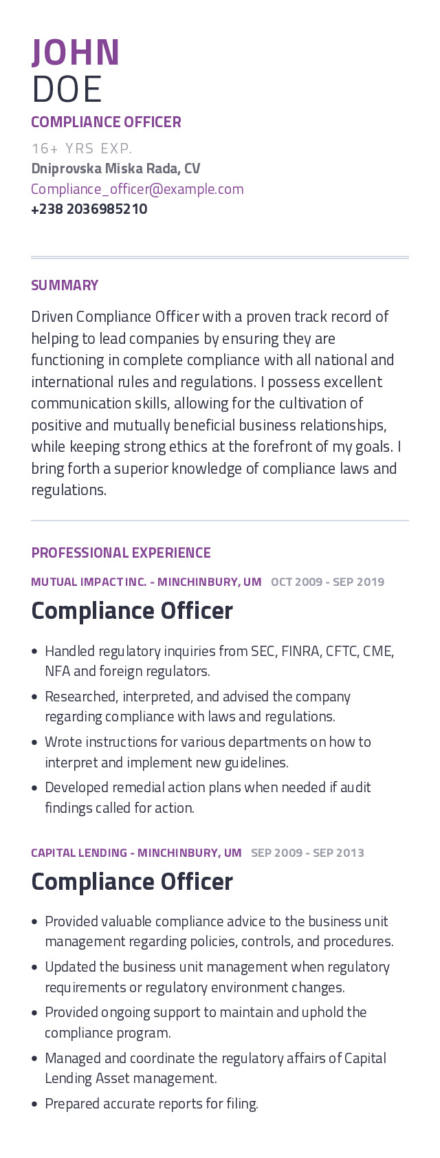 Compliance Officer Mobile Resume Example