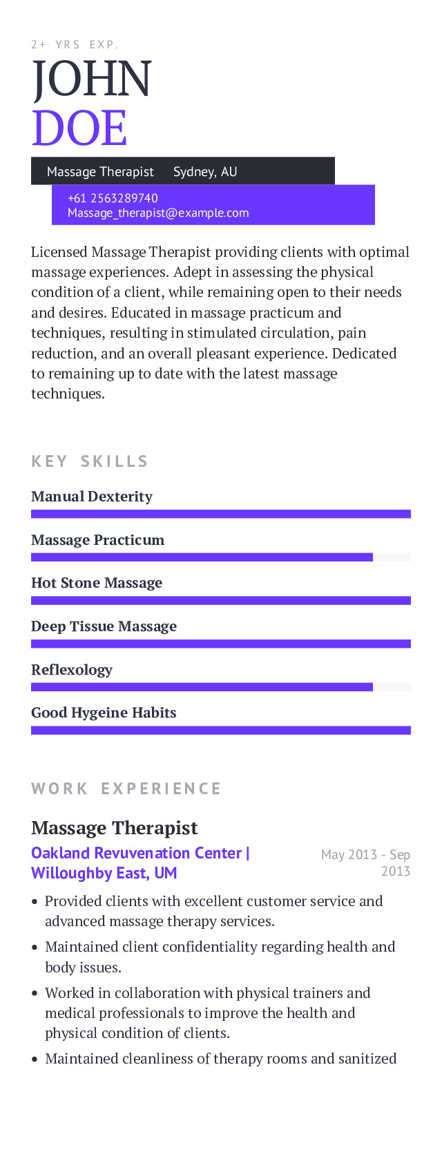 Massage Therapist Mobile Resume Example