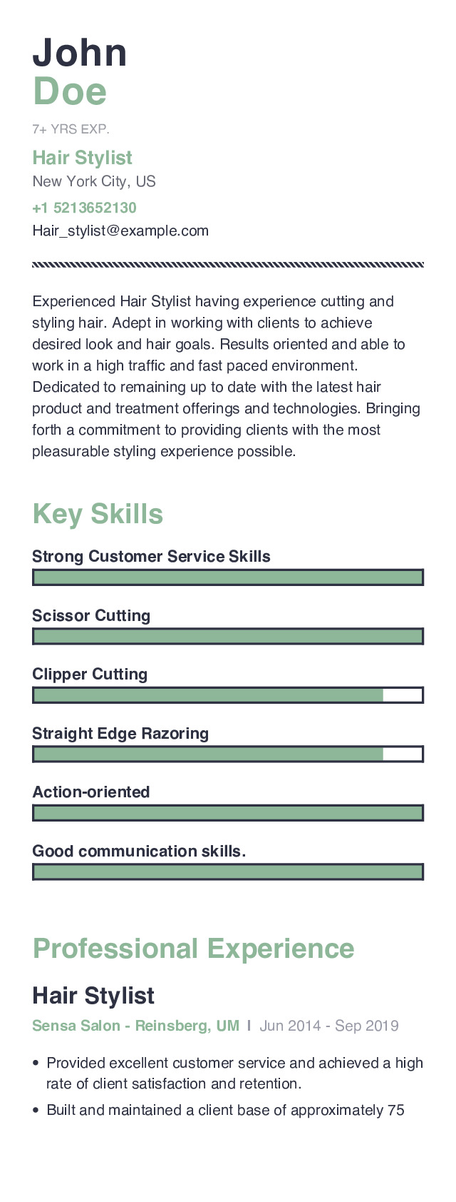 Hair Stylist Mobile Resume Example