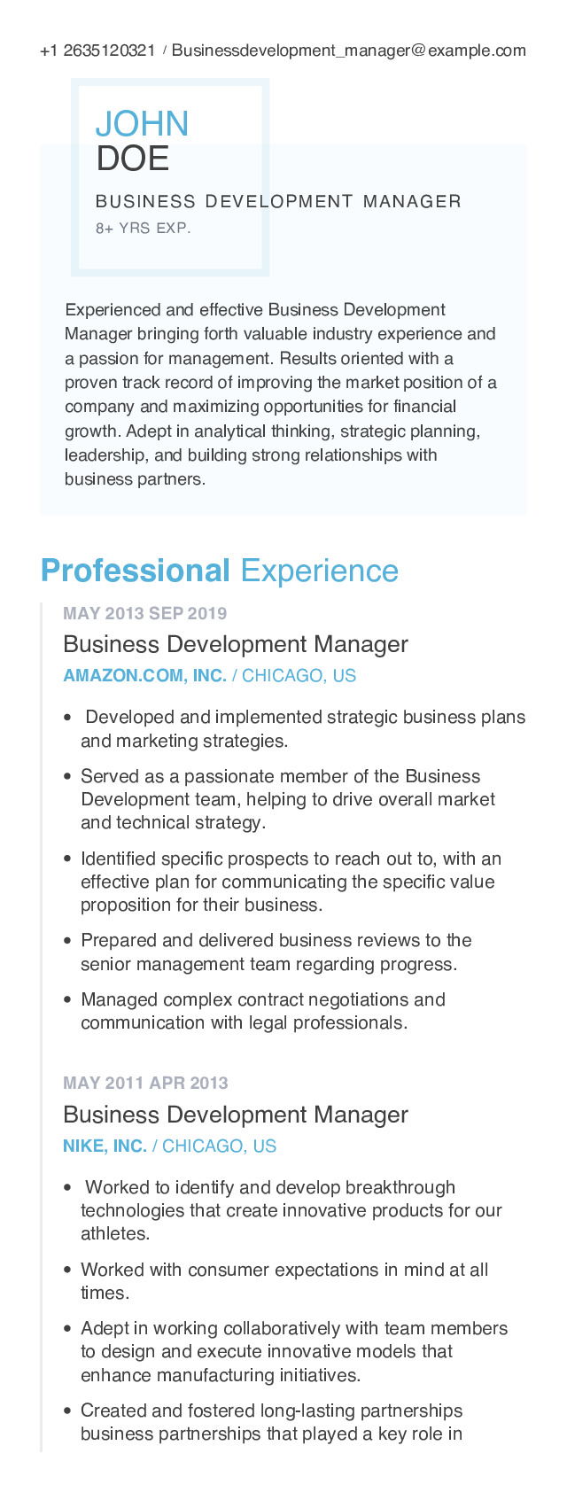 Business Development Manager Mobile Resume Example